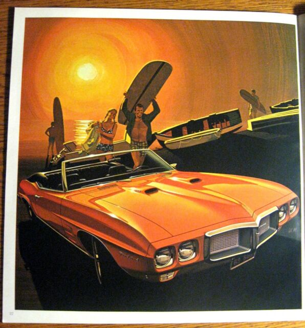 1969 Pontiac Sales Brochure GTO LeMans Firebird Tempest Custom, Original GM 69