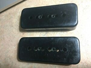 Two Black Vintage 1970s Gibson P-90 Pickup Covers P90, Stamped UC 452 B