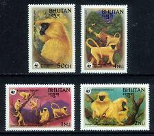 BHUTAN 1984 WWF MNH 4v, Golden Langur, Monkeys, Wild Animals