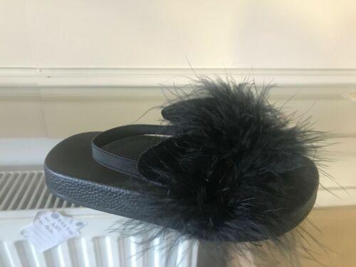 Kids Girls Furry Fluffy Pom Sliders Flats Shoes Slippers Mules Flip Flops Size U