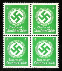DR-Nazi-3rd-Reich-Rare-WW2-1934-Hitler-039-s-Swastika-Officeal-Service-NSDAP-4-Stamp