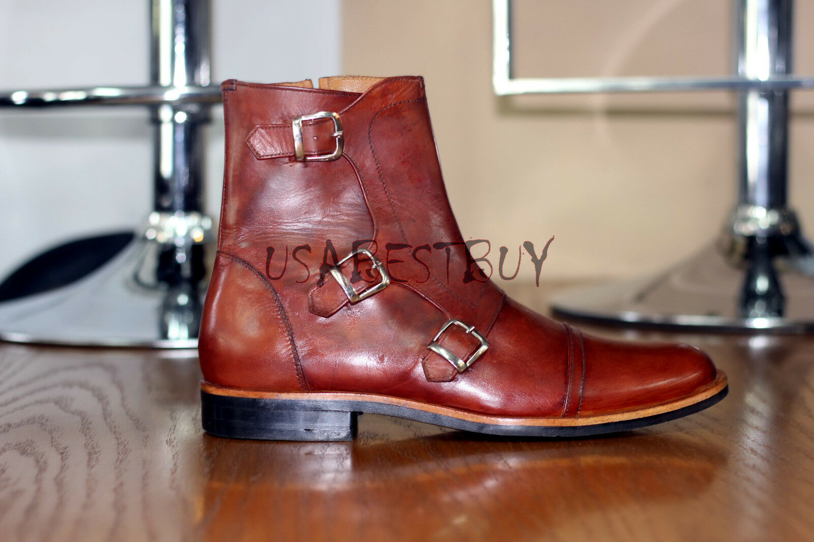 New Handmade Mens Brown Monk Strap Real Leather Boots, Men genuine leather boots