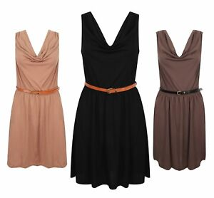 Ladies-Belted-Dress-Black-Camel-Mocha-Fashion-New-50-Cotton-Casual
