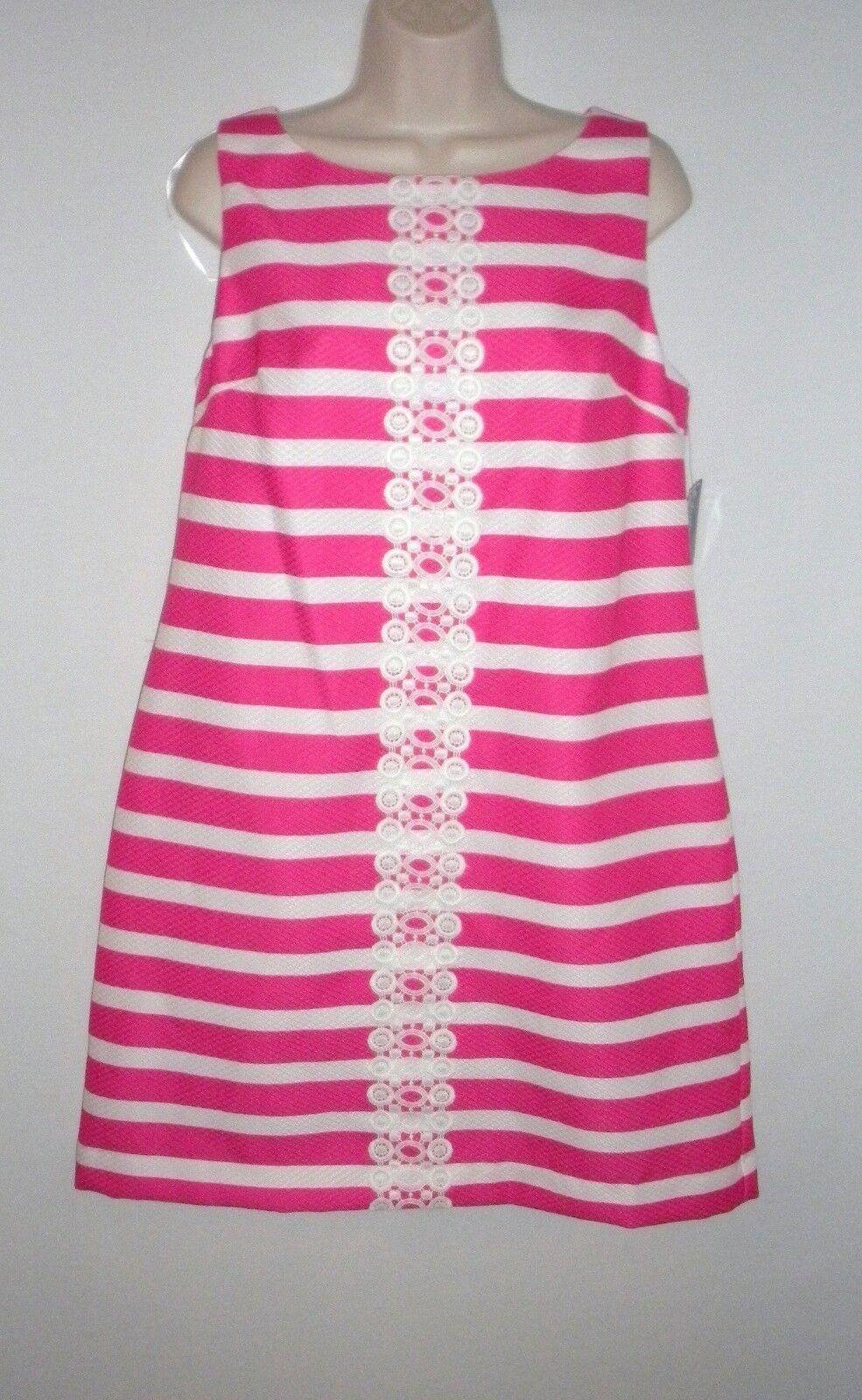 NEW  100 JESSICA HOWARD Fuchsia Pink & White Lace Panel Shift Dress, Plus 14W