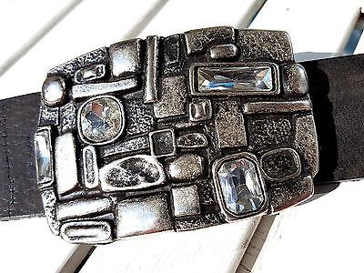 buckle schlange snake kristall strass silber Gürtelschnalle Wechselschnalle 4cm