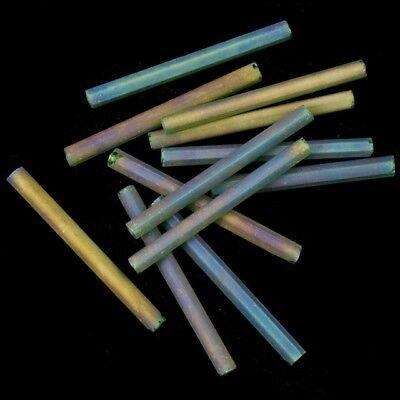 25mm Matte Transparent Crystal AB Bugle #CBF037 40 Grams