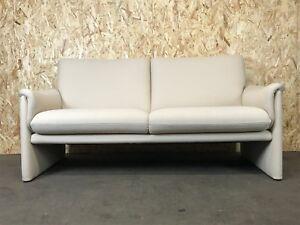 Vintage-Cor-Sofa-2er-zweisitzer-Couch-Garnitur-Design-Stoffbezug-Beige