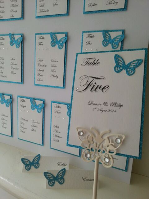 Handmade Wedding Table Numbers, Place Names, Table Plan, butterfly many colours