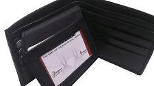 De Lujo Suave Real Cartera De Cuero Flip Id Negro tarjetas de crédito en efectivo Portafotos