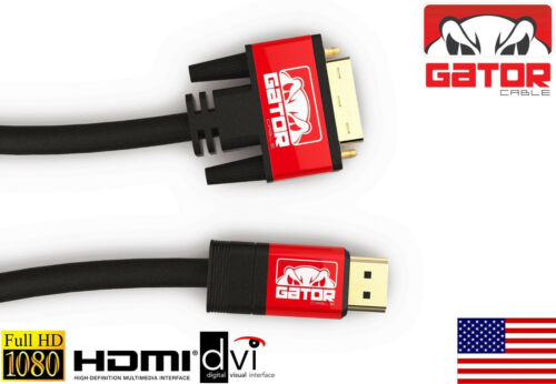 DVI-D 24+1 to HDMI Dual Link Cable Male Gold HDTV PC 1080P Display Adaptor 6FT