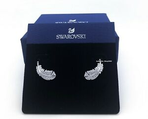 New-Authentic-SWAROVSKI-Rhodium-White-Crystal-Nice-Feather-Stud-Earrings-5482912