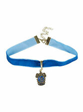 Harry Potter Ravenclaw Crest Logo Charm Pendant Blue Velvet Choker Necklace NEW