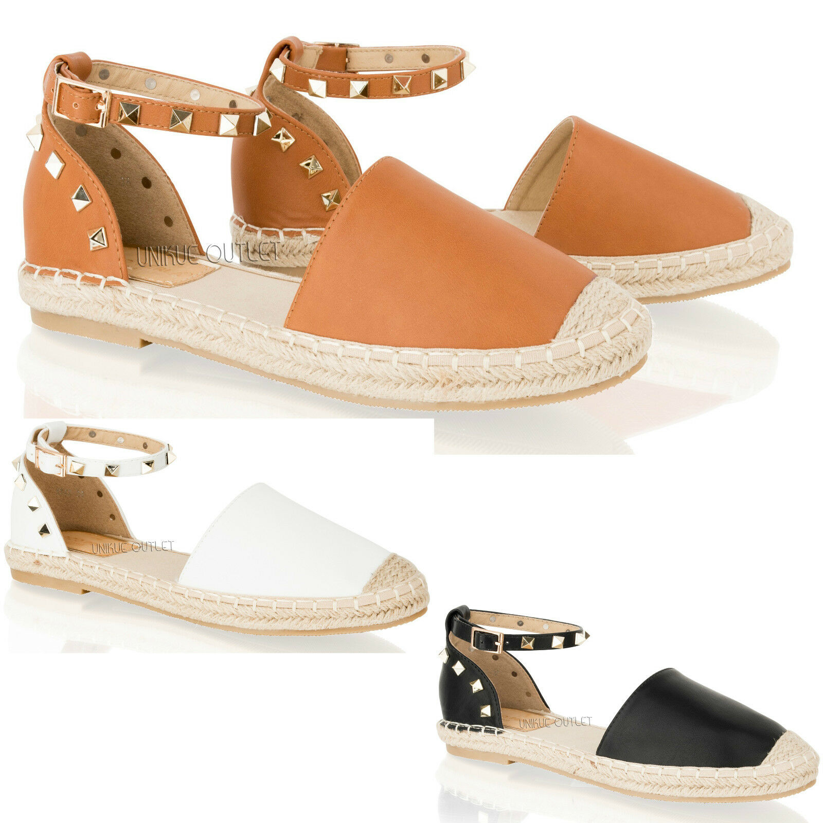 Womens Espadrilles Ladies Summer Flat Sandals Ankle Strap Espadrilles Womens Studded Shoes Size 3-8 dcd4fd
