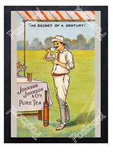 Historic-J-amp-J-amp-Company-039-s-pure-tea-1910s-cricket-Advertising-Postcard