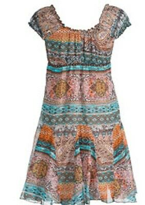 Namaste Paisley Rust Cotton Off The Shoulder Summer  Gypsy Dress Size  12 14