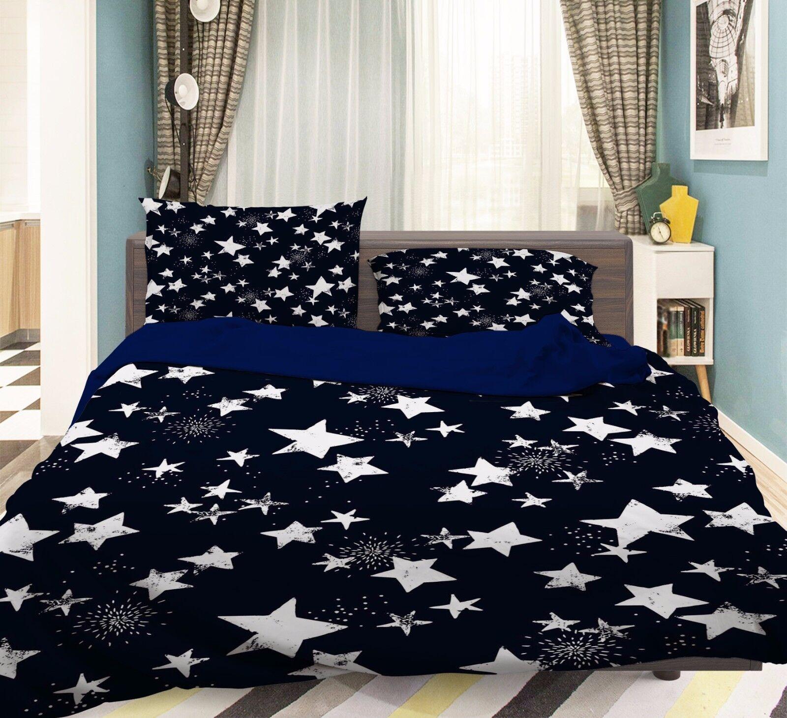 3D Dark color Stars 532 Bed Pillowcases Quilt Duvet Cover Set Single Queen CA
