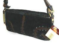 Antonio Melani Black Suede And Leather Handbag