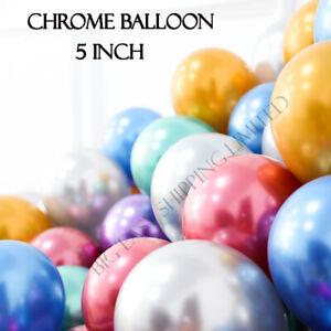 "10//100 Wedding Birthday Party 5/"" Small Metallic Pearl Chrome Latex Balloon Decor"