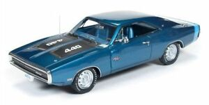 Resin-Autoworld-Dodge-Charger-1970-blue-metallic-1-43-Model-Car