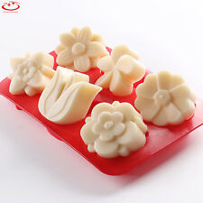 6 Cavity Tulip Flower Silicone Mold Cake Decorating Candy Chocolate Baking Mold