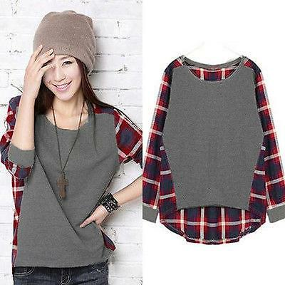 Women Plus Size Long-Sleeve Casual Loose Plaid Checked T shirt Tops Blouse New