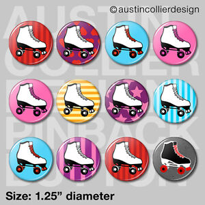 12-ROLLER-SKATE-1-25-034-pinback-buttons-badges-birthday-party-derby-pins