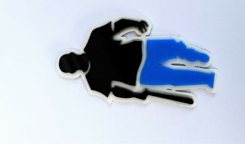Punjabi Gangster with Baseball Bat Blue Trousers ACRYLIC Adhesive Back Sticker