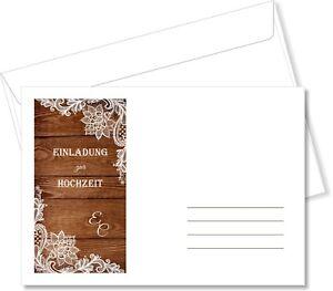 Briefumschlage Din C6 Fur Hochzeitseinladungen Holz Mit Weisser