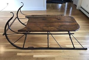 Details About Large Antique Sled Coffee Table Display Country Rustic Lodge Decorator Christmas