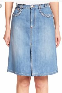0b900fac64bb9 See By Chloe Denim Skirt Blue Braid A-Line Skirt Women's Size 36   eBay
