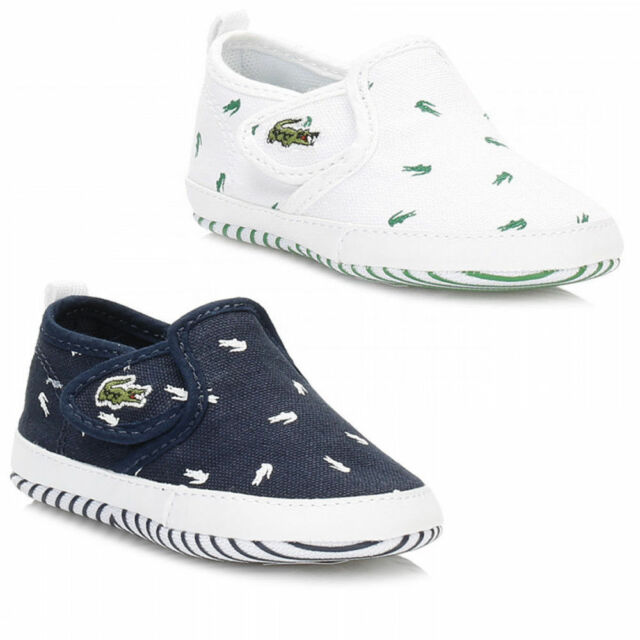 d663e0a9 Lacoste Crib baby Trainers Kids Gazon Slip on First Shoes - Navy / White