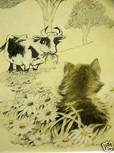 oliver herford angora kitten  cow 1911 cat art matted  ebay