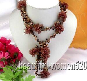 Z386 50 Coffee Baroque Pearl Silk Flower Necklace Ebay