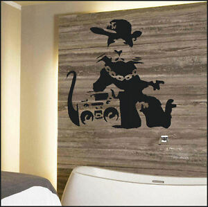 large banksy rat stereo wall art bedroom giant sticker 10165 | s l300