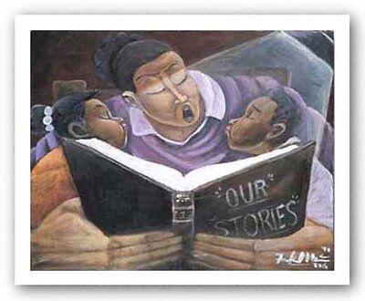 AFRICAN AMERICAN ART PRINT Story Time Woman Bryan Greene 16x20