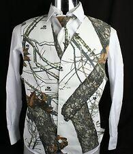 Mens Mossy Oak White Camo Tuxedo Vest Winter Brush With Choice Of Tie Wedding