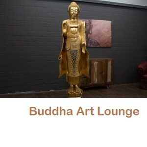 buddha statue stehend gro 200cm holz gold figur skulptur blattgold thailand neu ebay. Black Bedroom Furniture Sets. Home Design Ideas