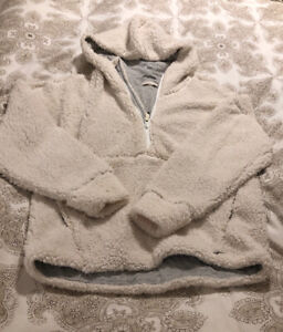 prAna-Permafrost-Half-Zip-Fleece-Jacket-OFF-WHITE-Comfy-Pullover-size-large