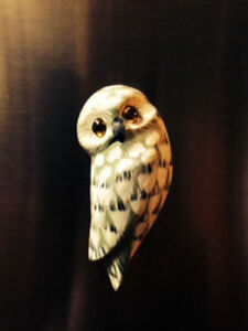 Image Is Loading Hand Painted Amp Carved Wooden Owl Magnet Refrigerator