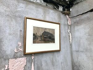 Beautiful-Original-Signed-Watercolour-Painting-Thatched-Barn-Dorset-Harry-Morley