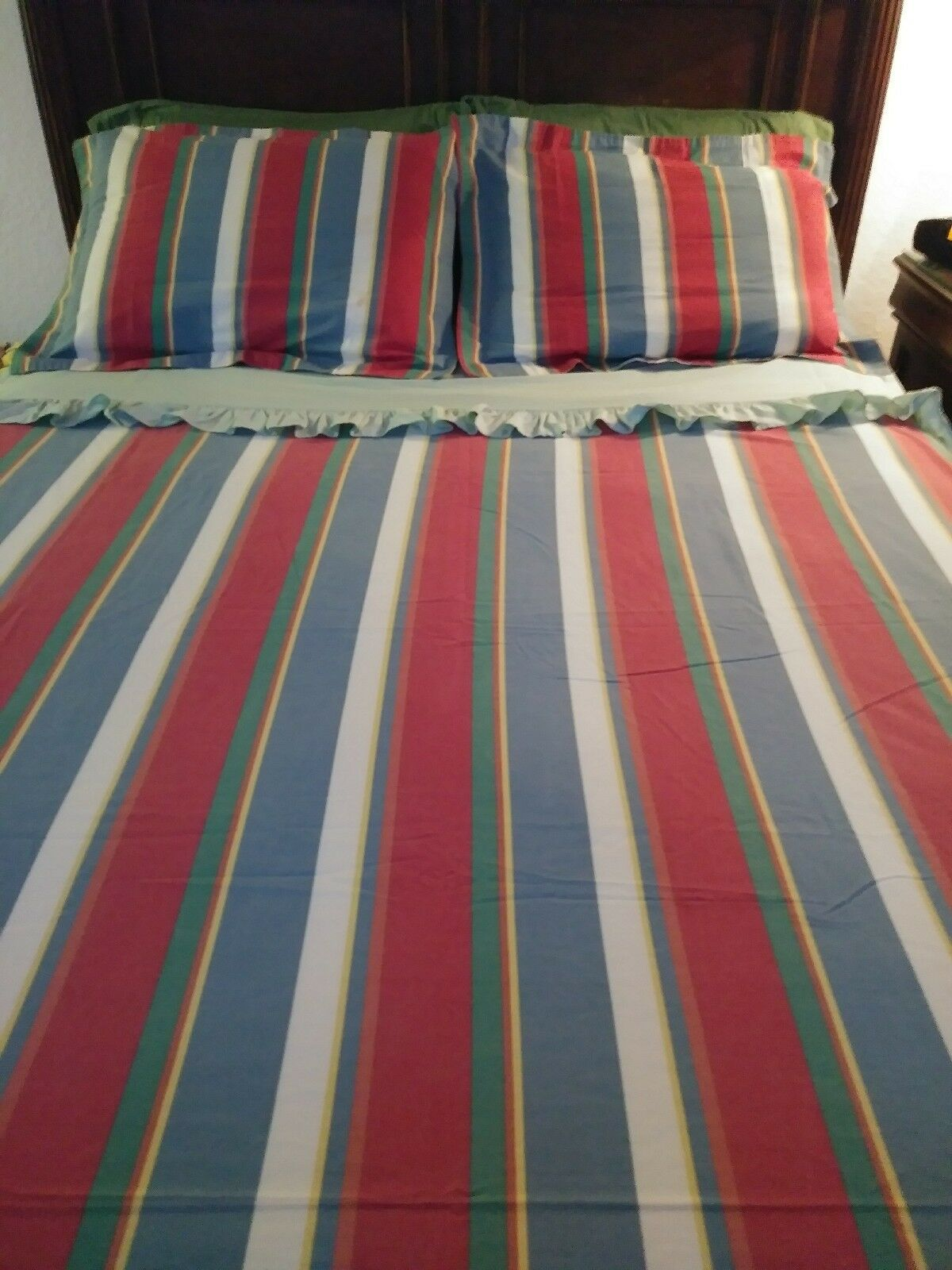 Vintage Ralph Lauren Flat Sheet With Red, bluee, Yellow, Green, and White Stripes