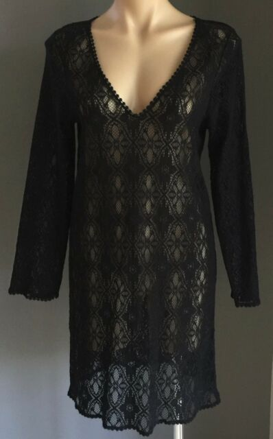 Lovely Black Lace Sheer Dress Swimsuit Cover Up / Beach Dress  Size 12
