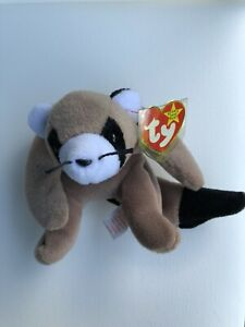 Ty Beanie Baby RINGO The Raccoon with Black Whiskers Original DOB July 14, 1995