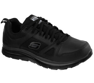 Skechers-Scarpe-Nere-Lavoro-Uomo-Memory-Foam-antiscivolo-Comfort-in-Pelle-77040