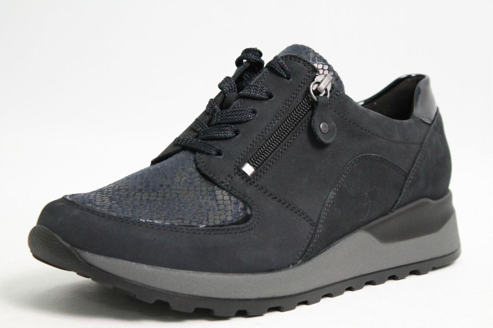Waldläufer Schuhe blau Nubuk Leder komfort Wechselfußbett Damen Schuhweite H