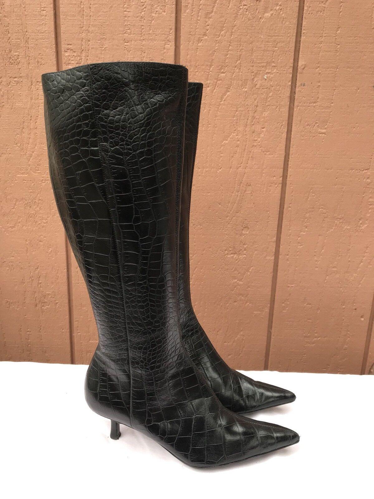 Usado en excelente estado Nine West shoulderr nosotros 6M botas De Impresión De Cocodrilo Negro De Taco Alto Mujer Zapatos