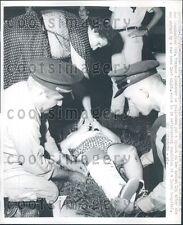 1959 Kansas City Police Put Splint on 7 Year Old Girl Struck by Car Press Photo