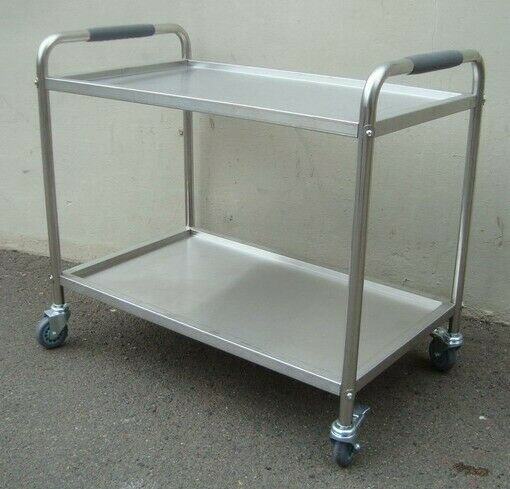 STAINLESS STEEL 2 TRAY TEA TROLLEY-HEAVEY DUTY-0.9m