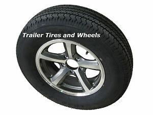 Lrc 6 pr radial trailer tire on 14 034 5 lug aluminum trailer wheel