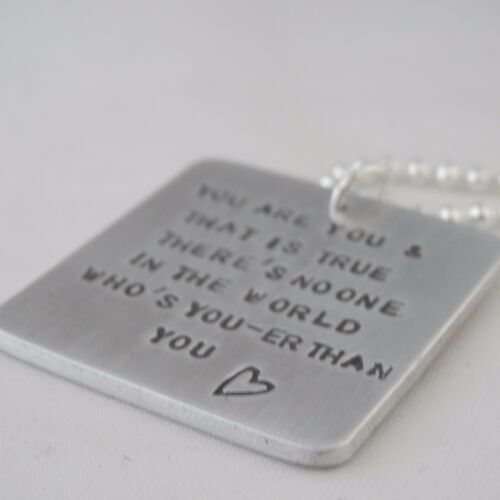 """Square Pendant Lovely Handmade Personalised /""""You are you../"""" Retro Unique Gift"""